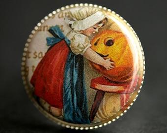 Pilgrim Ring. Halloween Jewelry. JackoLantern Ring. Autumn Ring. Adjustable Ring. Silver RIng. Halloween Ring. Handmade Jewelry.