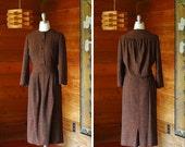SALE / vintage 1940s dress / 40s brown wool gladyce filer dress / size medium large