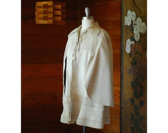 vintage 1970s CHAR white leather and suede cape