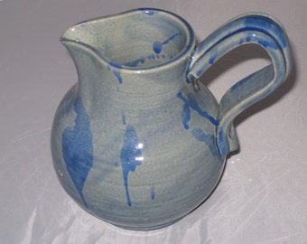 Small Two Tone Blue Pitcher with Abstract Decoration, Stoneware Ceramic Pottery, Wheel Thrown