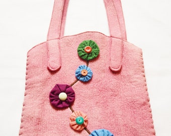 Hand-Dyed 1930s 40s Style Felt Workbag