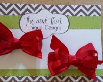 Set of Two Red Toddler Baby Hair Bows with double prong clips
