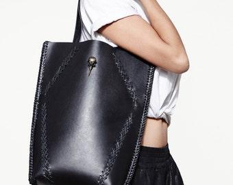Handstitched Black Leather Tote Shopper Bag