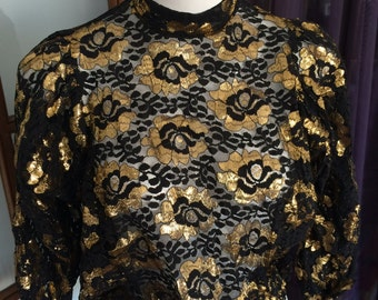 Black and Gold lace batwing top