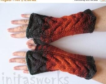Fingerless Gloves Mittens Brown Orange Black Beige Wrist Warmers