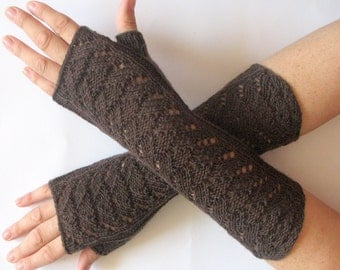 Brown Fingerless Gloves Long Mittens Arm Warmers Acrylic Wool