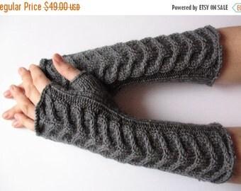 "Fingerless Gloves Long Dark Gray Long Fingerless Gloves Gray 15"" Arm Warmers Mittens Soft Acrylic Wool"