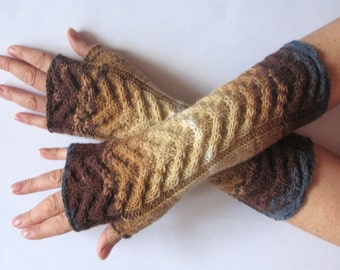 Brown Fingerless Gloves Blue Beige Cream Long Mittens Arm Warmers, Acrylic Wool