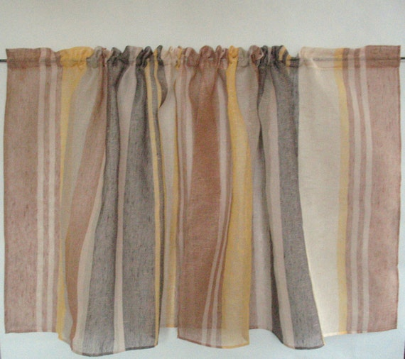 Linen Stripe Kitchen Curtains: Beige Curtain Lace Curtains Cafe Curtains Brown By Initasworks
