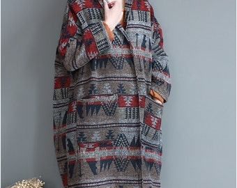 spring large size coat Loose Fitting Long Overcoat