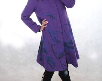 Spring cotton single breasted Loose Fitting Long Coat/ purple