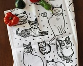 Organic Cotton Kitchen Tea Towel - Cats - Hand Printed