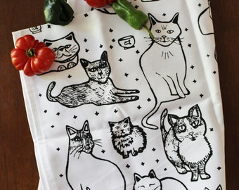 Organic Cotton Kitchen Tea Towel - Cats - Hand Printed