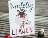 WELSH Nadolig Llawen Sheep Greetings Card. Welsh Language Typography Card. Modern Welsh Christmas Greetings Card. Welsh Sheep.
