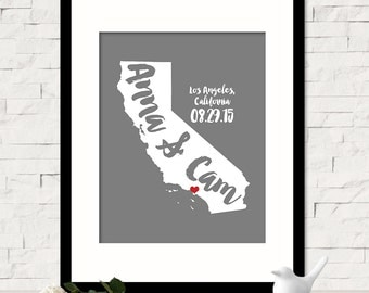 California Map Art, Personalized California Wedding Gift for Couples Wedding Gift for Anniversary Gift for Him California Gift -Any STATE