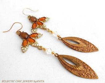 Patina Brass Earrings, Assemblage Earrings, Leopardskin Patina, Art Deco Earrings, Vintage, Swarovski, Tribal Earrings,Dangle Earrings
