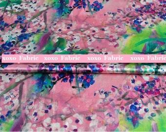 Stretchy Silk Satin Fabric , pink ink painting fashion design silk fabric supplies