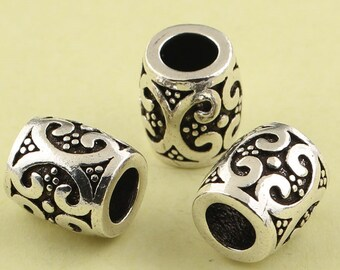 1pc 9mm 925 Sterling Silver Tube Vintage Wish Beads / Findings / Spacer, Antique Silver Tube Bead