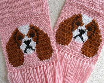 Cavalier King Charles Spaniel Scarf. Pastel pink, crochet and knit scarf with Cavalier spaniel dogs.