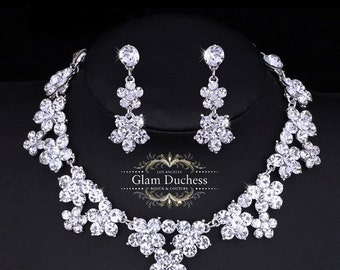 wedding jewelry, Bridal jewelry set, bridal necklace, wedding necklace, back drop necklace, Zircon crystal jewelry, bridesmaid jewelry set