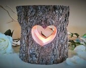 TREASURY ITEM - Tree branch candleholder - Heart candle -  Wedding candle - Wood Candle - Unity candle - Anniversary - Valentines day candle