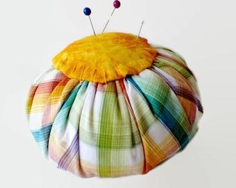 Colorful Plaid Upcycled Round Pincushion, Orange Top, Repurposed Fabric Shirt