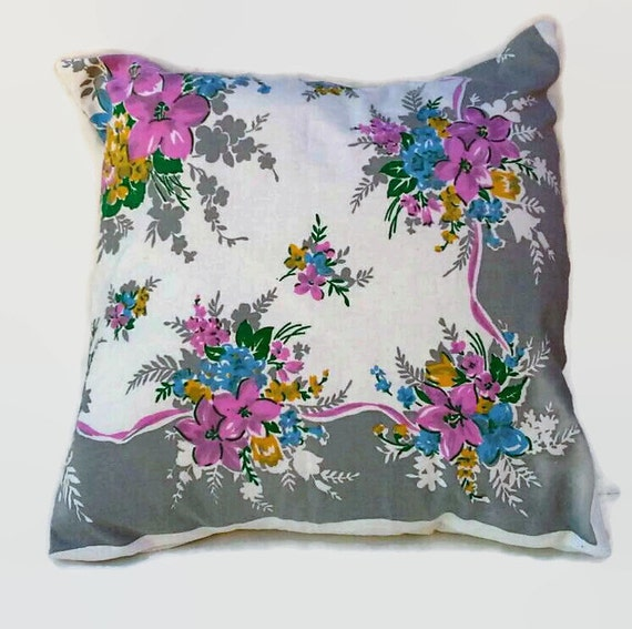 Etsy Shabby Chic Throw Pillows : Items similar to Flowered Cottage Chic Throw Pillow Cover 20 Inch Square Upcycled from Shabby ...