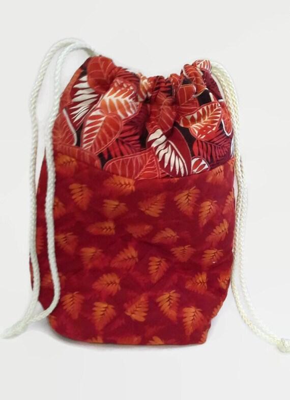 Quilted Knitting Bag Pattern : Quilted knitting bag orange leaf pattern tote drawstring