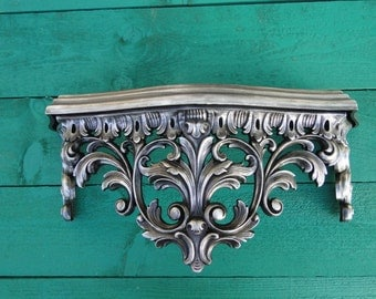 """Wall Shelf ornate baroque Hollywood regency Paris apartment French Gothic vintage metallic Oil Rubbed Bronze """"Silver Oil"""" Modern Vintage"""
