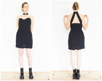 90s Black Bustier Choker Party Dress / Cut Out Mini Dress