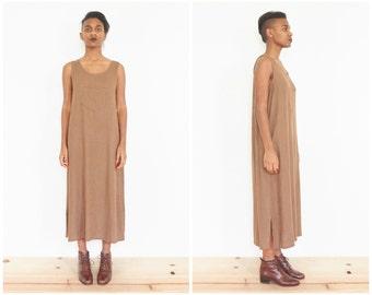 90s Brown Linen Sleeveless Sack Dress