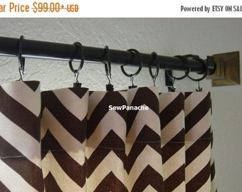 SALE Pair of Brown and Natural Chevron Zig Zag Curtains 50 x 84 96 108 120 inch Designer Custom Drapes