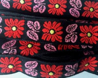 8,3 meters - Vintage floral black pink red floral trim 33mm flowers ribbon tape