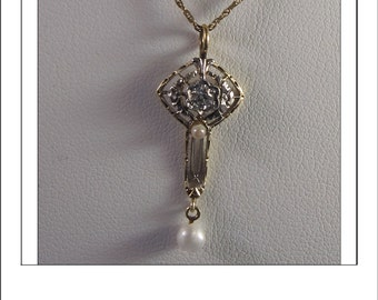 Antique Victorian 10k Diamond Pearl Lavaliere Pendant and 14k chain