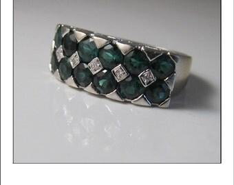 Vintage 14k 3 CT Green Tourmaline Diamond Wide Band Ring
