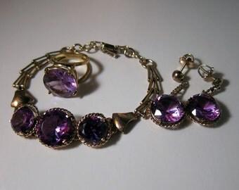 Antique Alexandrite Color Change 14k Rose Gold 4 piece Set - Ring, Earrings & Bracelet 29.2 Grams