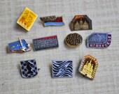 Set of 10 Vintage Soviet aluminum badges.