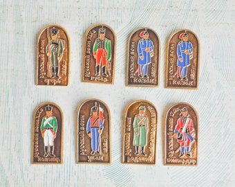 Vintage Soviet Russian aluminum badges.Set of 8.