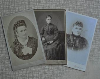 Antique Cabinet Photos. Lot of 3.