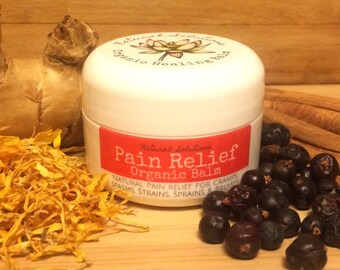 Pain Relief Organic Balm - Medicine Balm (Natural Pain Relief for Cramps, Spasms, Strains, Sprains & Bruises. PMS.)