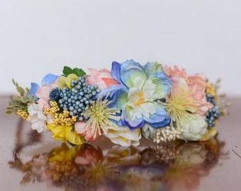 Colorful Flower Crown - Flowergirl hairpiece - Periwinkle Wedding - Newborn Photo Prop - Wedding Crown - Floral Hairpiece