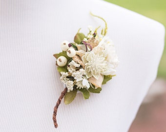 Wedding Boutonniere - Bridal Flower - Men's Rustic Wedding Accessory - Buttonhole - Beach Wedding - Accessory - Groomsmen - Groom Flower