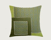 """Decorative Pillow case, Green, Grey, Off White colors, Decorative fabric Throw pillow case, fits 18""""x18"""" insert, Cushion case, Toss case"""