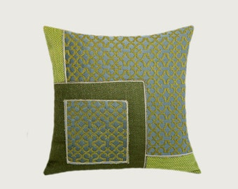 "Decorative Pillow case, Green, Grey, Off White colors, Decorative fabric Throw pillow case, fits 18""x18"" insert, Cushion case, Toss case"