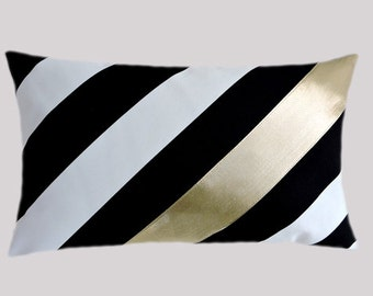 """Decorative Pillow Case, Diagonal Striped Black-White Cotton Lumbar pillow case with a Bright Gold fabric accent, fits 12"""" x 20"""" insert"""