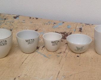 Vintage lab crucibles , set of 5