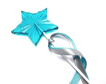 """12 LARGE RADIANT STAR Lollipops on 6"""" Stick with Satin Ribbon- Available in Any Color or Flavor, Princess Party Favor"""