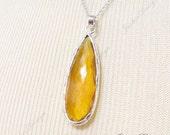 FREE SHIPPING Large Long Orange Topaz Hydro Tear Drop pendant Sterling Silver Necklace ZN3