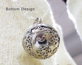 16mm Flowers Bali Harmony Ball (aka Mexican Bola) Sterling Silver Pendant Necklace LS55