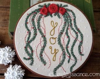 Hand Embroidery Hoop Art Christmas Joy in 6 Inch Hoop
